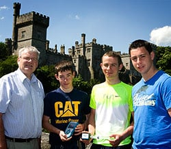 Principal John Murphy with students Joseph Foley, Michael O'Donnell, and Brian Hallissey at Lismor Castle