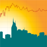 Illustration of a data trace over the skyline of Nashville